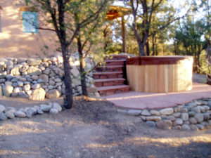 Johnson Hot Tub wall and stairs